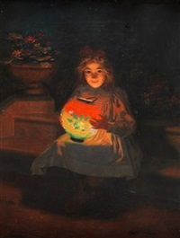 niña con farolillo by jacques alsina