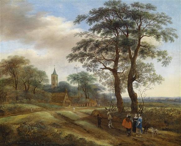 eine weite landschaft mit einer jagdgesellschaft im hintergrund ein kirchturm by pieter jansz van asch
