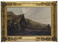 a coastal encampment by cornelis de bie