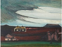 karoo landscape with houses by pranas domsaitis