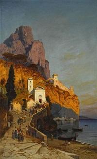 morgendlicher kirchgang an der küste von sorrent by hermann david salomon corrodi