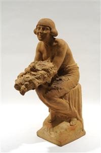 jeune femme assise, à la corbeille de fleurs by frans jochems