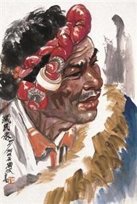 藏民像 by zhou bo
