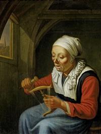 frau mit spindel (+ der gelehrte; 2 works) by dominicus van tol