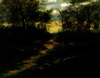 the path through the trees, sunset by charles hepner i