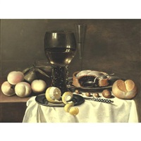 still life with a roemer, peaches, a pear, and a pie all resting on a partially draped table by hans van sant