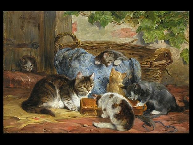 die katzenfamilie by julius adam (unattributable)
