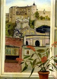 salzburg, blick aus dem fenster auf universitätskirche und festung by regine dapra