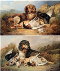 liver spaniel with the days bag; black and tan spaniel with the days bag (2 works) by william woodhouse