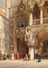 prozession an der porta della corta, dogenpalast, venedig by william harding smith