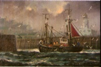 fishing vessel returning to the harbour by jack rigg