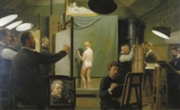 artists and a model in a studio by wilhelm pacht