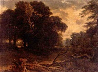 landscape with fallen tree by julius godet