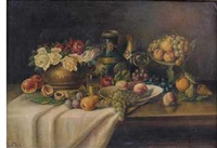 still life with fruit and flowers by franz rund