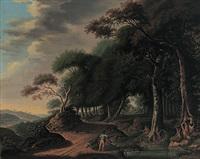 waldlandschaft mit bachlauf und anglern by derk jan van elten