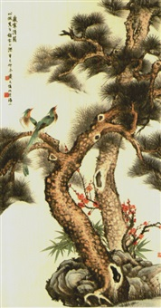 birds on pine tree by dai jun