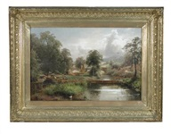 a mill on a river with lock gates by george vicat cole