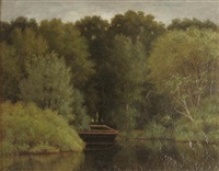 summer landscape with footbridge by alfred t. ordway