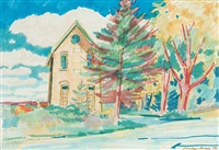 untitled - house and trees by patrick george cowley-brown