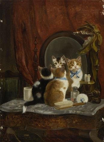 zwei kätzchen vor dem spiegel by julius adam the younger