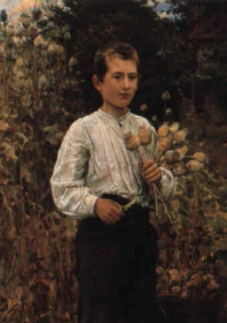 a young boy picking poppies by ernst henseler