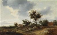 zwei bauern auf einem weg vor dem dorf by frans de hulst