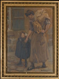 mère et fille se promenant by alfred victor fournier
