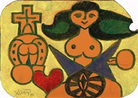 composition with woman, heart and cross by henry heerup