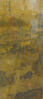 chinese framed painting of scholar and horse scene by anonymous-chinese (18)