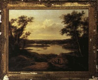 landscape with wood gatherers near a lake by jane nasmyth