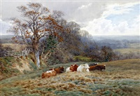 autumn landscape with horse, cart and sheep on a stone bridge (+ untitled (cattle seated before a landscape); pair) by charles james adams