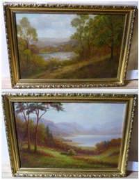 a peep of the wharfe, bolton woods; derwentwater, cumberland (2 works) by everett w. mellor