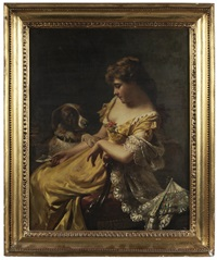 woman with letter and her dog by edwin thomas roberts