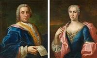 zwei gemälde: porträts eines adligen paares by johann heinrich tischbein the elder