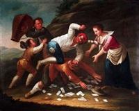 streit unter kartenspielern (+kartenspieler vor einer taverne; pair) by giovanni michele graneri