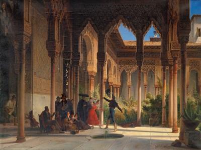 Spanischer Innenhof tanz in einem spanischen innenhof alhambra by wilhelm gail on artnet