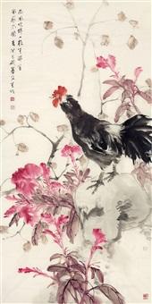 鸡冠花 镜片 设色纸本 by liu wensheng