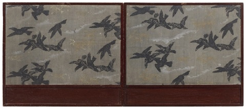 a two panel tea ceremony screen around 1900