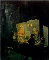het oliebollenkraam bij avond by jan hendrik van grootvelt