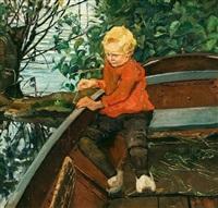 knabe im boot by josef van raay