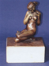nude woman looking down at frog by p. philippe