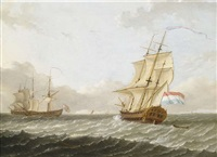 segelschiffe auf hoher see by frans xaverius xavery