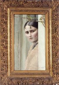 retrato de joven tras una puerta by roberto fernandez balbuena