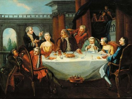 banchetto con personaggi scena con personaggi e architetture pair by pietro longhi