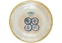 decorated plate with the design of playing child by ryusei kishida