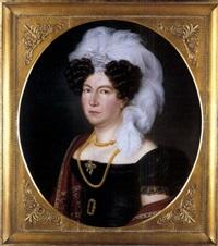 portrait einer dame mit straussenfedern by joseph anton rhomberg