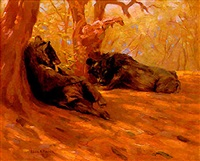two bears resting in the shade by edgar n. fischer