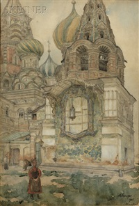 bell tower of the church of vasiliy the blessed in moscow by nikolai evgenievich lansere