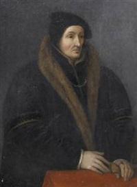 ritratto di gentiluomo in abito nero con collo di pelliccia by hans wertinger