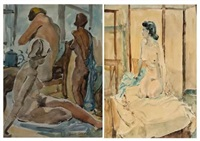 nude and three women (2 works) by frank sydney spears
